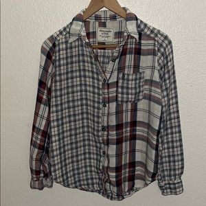 Abercrombie & Fitch Plaid Button Up Red White Blue